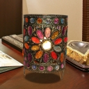 Cylinder Bedroom Night Table Lighting Art Deco Metal 1 Bulb Brass Nightstand Light