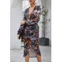 Ladies Cool Leopard Printed Deep V-Neck Long Sleeves Asymmetric Hem Midi Fitted Dress