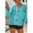 Casual Cozy Women's Blouson Sleeve V-Neck Color Block Print Loose Fit Tee