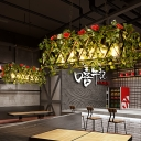 Metal Red/Green Island Pendant Light Rectangular 6 Bulbs Industrial LED Ceiling Suspension Lamp with Flower/Plant