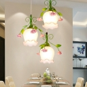 Industrial Floral Cluster Pendant 3 Bulbs White Glass LED Suspension Light for Dining Room