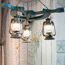 3 Lights Clear Glass Chandelier Lighting Fixture Vintage Blue Kerosene Living Room Pendant Light
