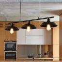 3 Lights Flared Island Lighting Fixture Farmhouse Black Metal Billiard Lamp for Restaurant