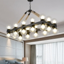 24 Lights Pendant Lighting Warehouse Rectangle Clear Glass Hanging Island Light in Black