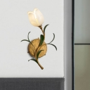 Traditionalism Floral Wall Mount Lamp 1 Head White/Yellow Glass Wall Sconce for Living Room