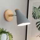 Metal Shaded Wall Ligting Modern 1 Bulb Grey Sconce Light Fixture with Round Wood Backplate