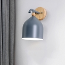 Modernist 1 Head Wall Lighting White/Grey/Blue Cylindrical Sconce Light Fixture with Metal Shade for Bedroom