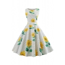 Retro Formal Female Sleeveless Boat Neck All Over Floral Printed Bow Tie Waist Midi Pleated Swing Dress