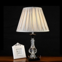 Cream Gray Barrel Nightstand Light Traditionalism Clear K9 Crystal 1 Light Living Room Table Lamp with Square Pedestal