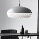 1 Head Living Room Ceiling Light Modern Black/White Pendant Lighting Fixture with Hat Metal Shade