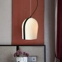 Modern Bell Hanging Lamp Black and White Glass 1 Bulb Bedroom Pendant Lighting Fixture