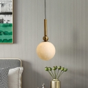 Contemporary Round Ceiling Light White Glass 1 Bulb Suspended Lighting Fixture in Gold