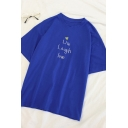 Preppy Stylish Letter LIVE LAUGH LOVE Printed Short Sleeves Relaxed Fit Summer T-Shirt