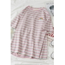 Simple Rainbow Applique Stripe Printed Short Sleeves Loose Fit Curved Hem Daily T-Shirt