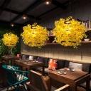 Yellow Floral Pendant Lighting Fixture Industrial Metal 1 Head Restaurant LED Hanging Ceiling Light