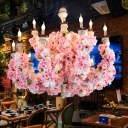 15 Lights Flower Chandelier Lighting with Candlestick Metal Industrial LED Restaurant Drop Pendant in Pink