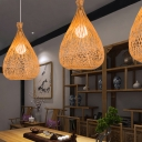 1 Bulb Tearoom Pendant Lamp Asia Wood Hanging Ceiling Light with Handcrafted Bamboo Shade