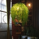 Green 3/4 Heads Chandelier Lighting Industrial Metal Plant LED Suspension Pendant for Restaurant, 18