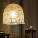 Wood Cage Ceiling Lamp Asian 1 Head Bamboo Hanging Light Fixture for Dining Room