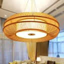 Rounded Drum Pendant Light Asia Bamboo 25.5