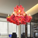 Metal Pink Hanging Chandelier Cherry Blossom 7 Heads Antique LED Drop Pendant for Restaurant