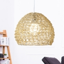 1 Head Restaurant Pendant Lamp Asia Beige Ceiling Hanging Light with Basket Bamboo Shade