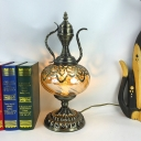 1-Bulb Teapot/Incense Burner Table Lamp Art Deco Brass Metal Night Light with Amber Glass Shade, 14