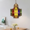 Antiqued Lantern Chandelier 4 Bulbs Metal Hanging Ceiling Lamp in Brass for Dining Room