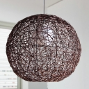 Asian 1 Head Pendant Light Coffee Global Ceiling Suspension Lamp with Rattan Shade