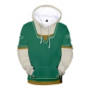 Hot Popular Anime Character Cosplay Costume  3D Pattern Long Sleeves Color Block Hoodie