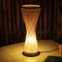 Laser Cut Reading Light Japanese Bamboo 1 Bulb Wood Small Desk Lamp for Bedroom