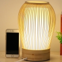 1 Bulb Urn Task Light Chinese Bamboo Small Desk Lamp in White with Cylinder Parchment Shade