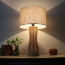 Laser Cut Bamboo Task Light Asian 1 Bulb Flaxen Desk Lamp with Drum Fabric Shade