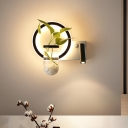 LED Round/Square Sconce Lamp Industrial Black Clear Glass Plant Wall Light in Warm/White Light for Bedroom
