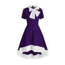 Womens Elegant Colorblock Bow Tie Neck Short Sleeves High Low Hem Midi Knitted Dress