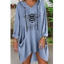Simple Bee HAPPY Letter Printed Long Sleeves Dual Pocket Irregular Hem Baggy Longline T-Shirt Hoodie