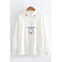 Mori Girls Fashion Embroidery Fish Letter Printed Long Sleeves Patched Collar Oversized Sweatshirt