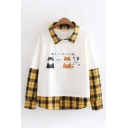 Girls Casual Japanese Letter Cat Pattern Checked Panelled Long Sleeves Oversized Sweatshirt