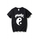 Unique Letter Tai Chi Printed Short Sleeves Round Neck Summer T-Shirt for Men