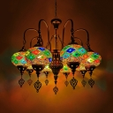 Oval Stained Glass Chandelier Antiqued 9 Lights Coffee Shop Hanging Light Fixture in Orange/Green
