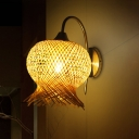 Handwoven Bamboo Sconce Light Asian 1 Head Flaxen Wall Mounted Lamp with Metal Curvy Arm