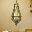 Carved Restaurant Pendant Light Art Deco Metal 1 Bulb Brass Suspended Lighting Fixture