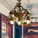 Wooden Green Island Pendant Light Lantern 3/6/8 Bulbs Industrial LED Plant Hanging Lamp Kit, 21.5