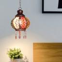 Globe Restaurant Pendant Lamp Decorative Metal 1 Head Rust Hanging Ceiling Light