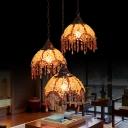 3 Bulbs Scalloped Cluster Pendant Art Deco Yellow Metal Hanging Ceiling Light for Restaurant