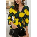 Pretty Cute Ladies' Long Sleeve V-Neck All Over Lemon Printed Bow Tie Waist Fitted Blouse