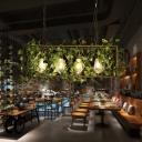 Industrial Flower/Plant Island Pendant 4 Bulbs Metal LED Suspension Light in Yellow/Green for Restaurant