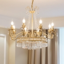 Crystal Gold Chandelier Circular 4/8 Lights Traditional-Style Hanging Pendant Light for Living Room
