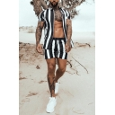 New Trendy Vertical Stripe Print Drawstring Waist Quick-Dry Casual Beach Shorts