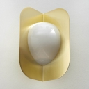 Metal Bent Wall Lamp Contemporary 1 Head Gold Sconce Light Fixture with Opal Glass Shade
